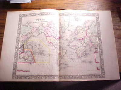 1860 World Map Large Hand Colored With Explorer Routes Mitchell's Atlas Vg+