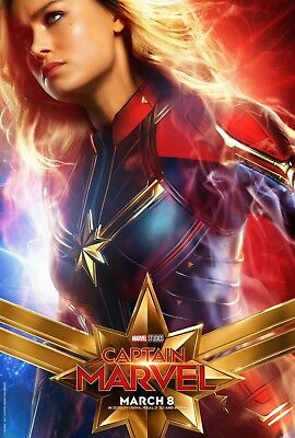 "Captain Marvel 2019 Poster 48x32"" 36x24"" 21x14"" Movie Brie Larson Art Print Silk"