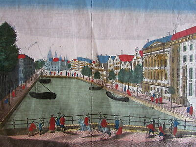 Amsterdam canal Kloveniers c.1750 Netherlands city view vue d'optique print
