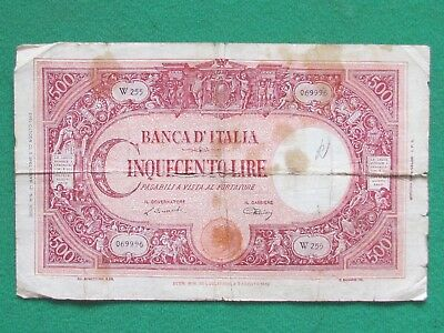Italy ( 1943 Rare ) 500 Lira Beautiful Rare Large Reverse Small Taped Bank Note