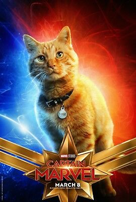 "Captain Marvel 2019 Poster 48x32"" 36x24"" 21x14"" Movie Goose Cat Art Print Silk"