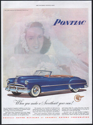 1949 Pontiac ad blue Chieftain DeLuxe Convertible