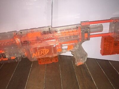 Nerf N-strike Recon CS-6 Clear With 2 Clips Red Dot Light Rampage Stock Working