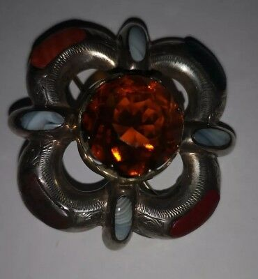 Antique Silver, Agate And Citrine Scottish Brooch