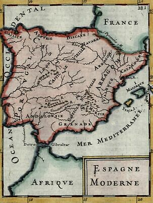 Spain Portugal Europe 1683 Mallet antique map beautiful hand color