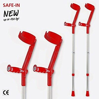Invacare Safe In Crutches (Pair), Colour: Red