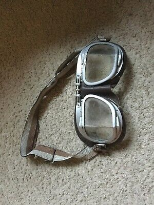 Vintage Piolet Leather Motorcycle Aviation Goggles !