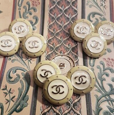"""set 10 Chanel Style White & Silver Metal Round Shank Sewing Buttons 25mm. 1"""""""