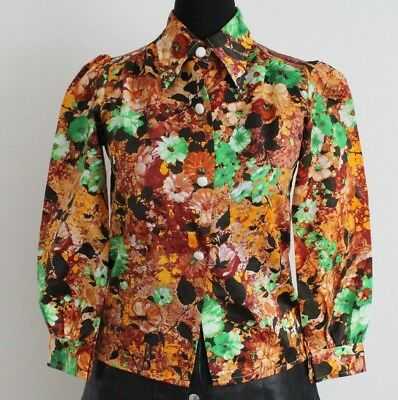 Vintage 1970s Floral Shirt RETRO MOD Hippy Disco Blouse Girls Aged 12 Approx