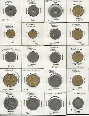 Coin Africa French Morocco 1940's lot of 19 pieces & one 1894 shilling