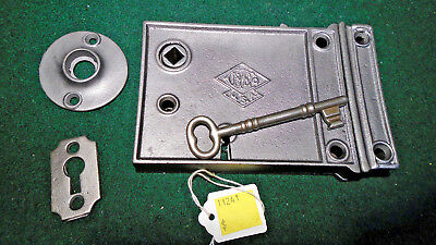 VINTAGE RUSSELL & ERWIN RIM LOCK w/KEY & KEEPER: RECONDITIONED - NICE  (11241)
