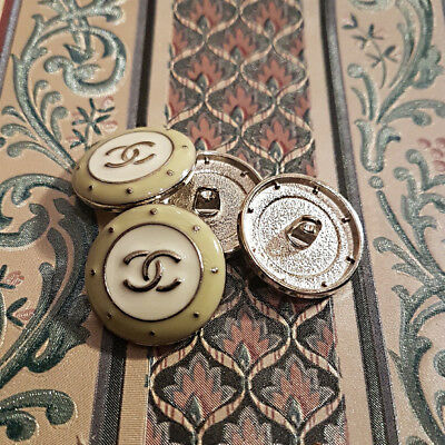 """set 6 Chanel Style White & Silver Metal Round Shank Sewing Buttons 25mm. 1"""""""