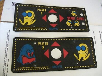 MIDWAY PACMAN Cocktail Table Cabaret Control Panel Overlay Decals set of two