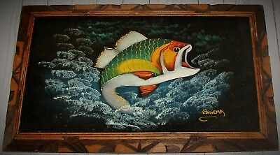Vintage Mexico Black Velvet Painting FISH Bass or Trout Signed ROMERO w/ Frame