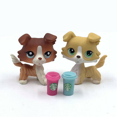 Littlest Pet Shop dog LPS toys #1542 and #272 2 collie dogs + 2  Accessories