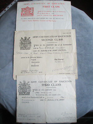 1st, 2nd & 3rd Class Army Certificates of Education. Royal Army Ordnance Corps.