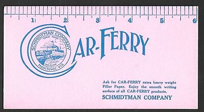Car-Ferry Ink Blotter - Schmidtman Company - Manitowoc Wisconsin - Ruler