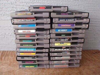 Large Gently Used Lot of 25 Nintendo NES Games Cartridges Mario Contra Commando
