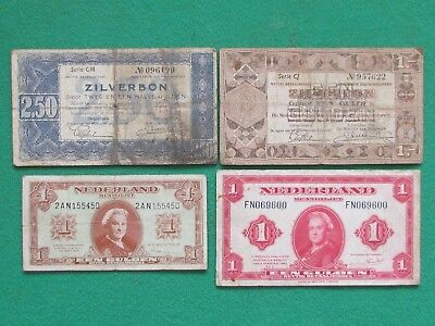 Netherlands ( 1938-1945 ) 4 Beautiful Rare Gulden Bank Notes