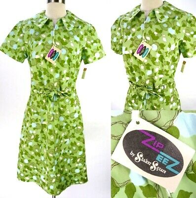 NOS Vintage 60s Shaker Square Day Dress M Belted Shift Lime Floral Bill Sims NEW