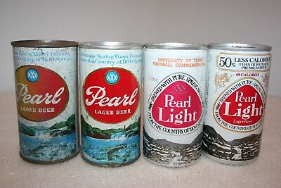 Pearl 12 oz. flat top and pull tab beer cans from San Antonio, Texas