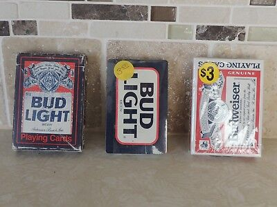 Budweiser Bud Light Beer- 3x Decks of Playing Cards