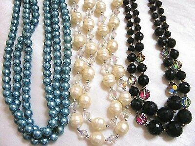 Vintage Necklaces Lot of 3 Multi Strand Blue Faux Pearls, Black Glass, White AB