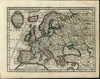 Europe continent huge Iceland Natolia Moscovy 1719 Chiquet decorative map