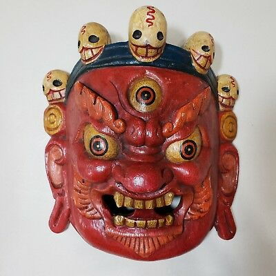 Wood Hand Carved Painted Tibetan Buddhism Mask Walldecor Art - Mahakala