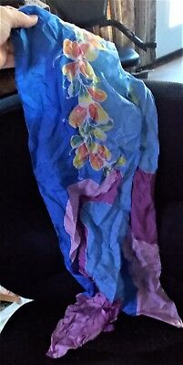 Vintage Balour Malaysia Pink Blue Floral water Silk Scarf Accessory