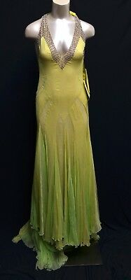 79e9f7ba4bef BCBG Max Azria ATELIER Dress Gown Yellow Green Embellished Silk Deep V-neck  2-