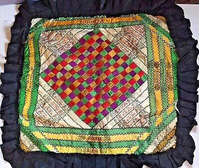 "Antique Cigar Silk Ribbon Patchwork Quilted Americana Tapestry Pillow 21"" By 23"""