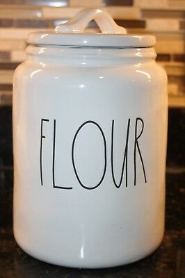 Rae Dunn FLOUR Black Letter Large Canister Jar Container