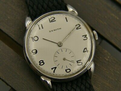 40's vintage watch mens ZENITH fixed fancy crab lugs cal 12-4-P RARE 35mm