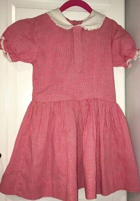 Vintage 1940s? Dress Girls Red Gingham With Faux Tie Lace Trim