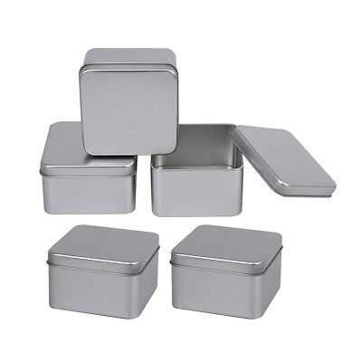 5x Square Metal Empty Tins Container Basic Necessities Home Storage Box Case