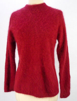 Vintage Fuzzy 70% ANGORA Pullover Sweater M NOS Deadstock Mock Neck Furry Red