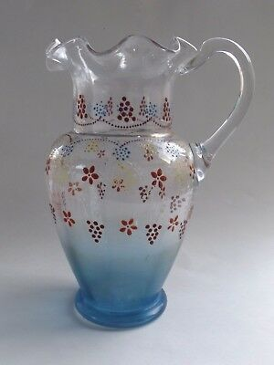 Victorian Era Hand Painted Blown Pitcher BEAUTIFUL!