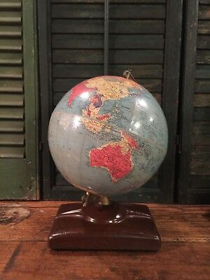 Vintage Replogle 10 Inch Reference World Globe Atlas Missing
