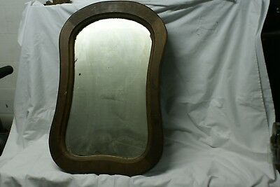 Antique Primitive Wooden Frame Looking Glass Hourglass Shape
