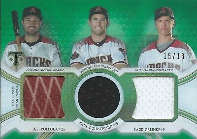 2018 Topps Triple Threads #RCC-APZ 15/18 Pollock / Greinke / Goldschmidt Patch