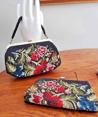 Beautiful Pair of Matching Vintage Embroidered Purses-Red & Blue Flowers