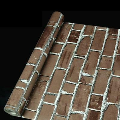 10M Roll 3D Rustic Grey Vintage Embossed Brick Effect Wallpaper  Decor BG