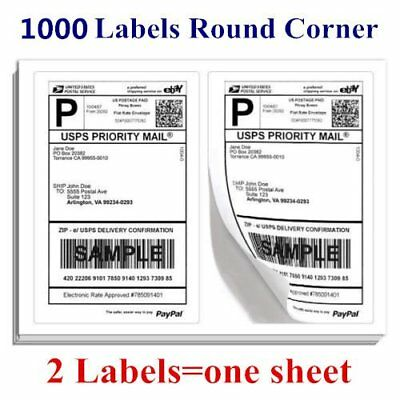 1000 Round Corner Shipping Labels Easy Peel Half Sheet 8.5 x 5.5 For USPS PayPal