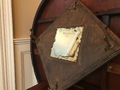 1880's Saloon Advertising Sign,Century Club Whiskey,Press molded tinwork, 17x17