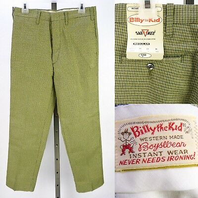 Vintage 60s 70s Billy The Kid Boys Pants Size 10 25x23 Green Plaid NOS Deadstock