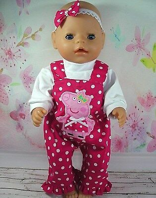 """Dolls clothes for 17"""" Baby Born doll~PEPPA PIG PINK~ SPOT OVERALL~TOP~HAIR BOW"""