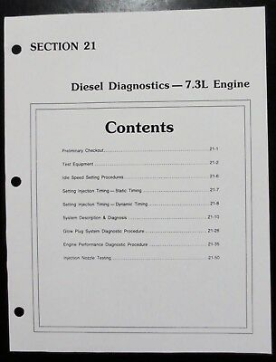 1998 Ford  7.3 Diesel Engine Factory Diagnosis and Troubleshooting Charts