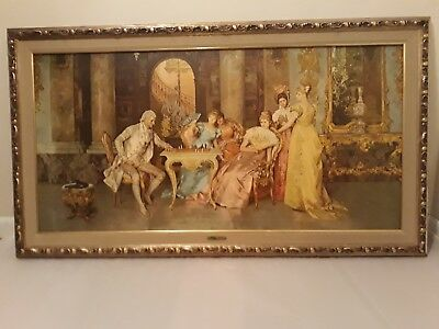 Francesco Beda The Chess Game Framed Litho On Textured Board 55 X