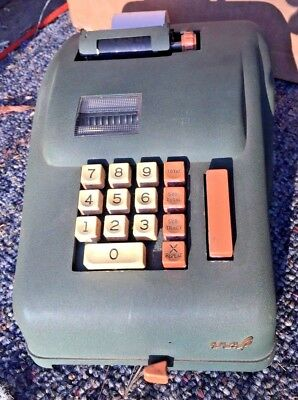 Vintage GENERAL Electric Adding Machine w/ Cover Made USA